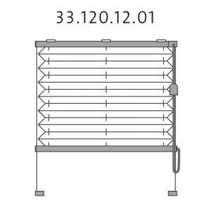Basis plissé met montageschoenen onderkant, trekkoord en zijgeleiding, bottom-up (33.120.12.01)