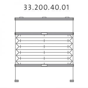 Vrijhangend dakraam plissé met montageschoenen onderkant, handgreep en zijgeleiding, top-down en bottom-up (33.200.40.01)