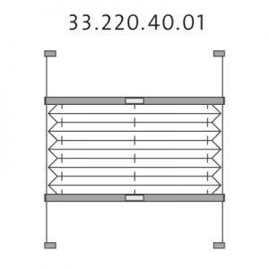 Vrijhangend dakraam plissé met montageschoenen, handgreep en zijgeleiding, top-down en bottom-up (33.220.40.01)