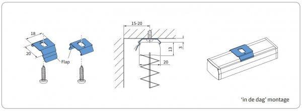 plafondmontage met clip standaard profiel 1