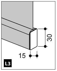 Onderlat bekleed met de gekozen stof. Maximale breedte: 2500 mm