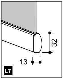 Onderlat met platte voor- en ronde achterzijde