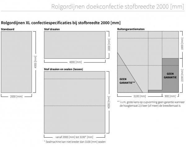 rolgordijnen xl doekconfectie stofbreedte 2000