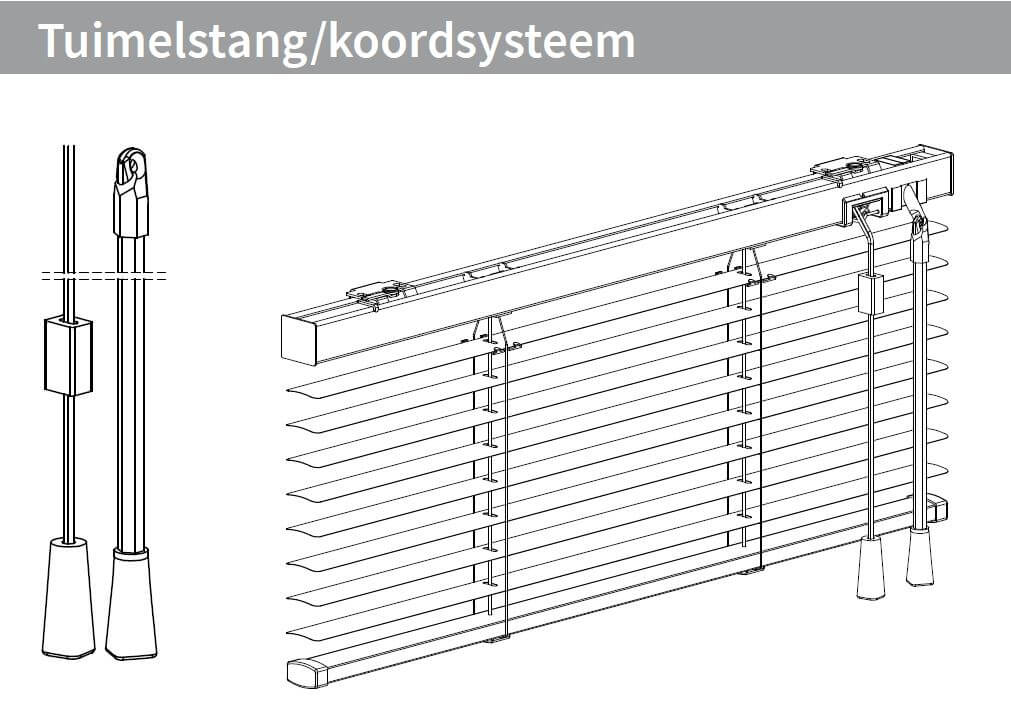 Tuimelstang en koordsysteem links