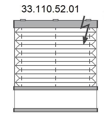 Basis plissé met montageprofiel onderkant en (draadloze) Somfy elektrische bediening, bottom-up (33.110.52.01)