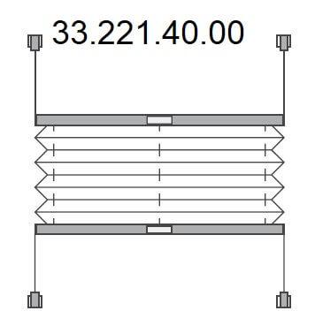 Vrijhangend plissé met handgreep, montage middels bevestigingsklem op het raam (klembereik 15-24 mm) (33.221.40.00)