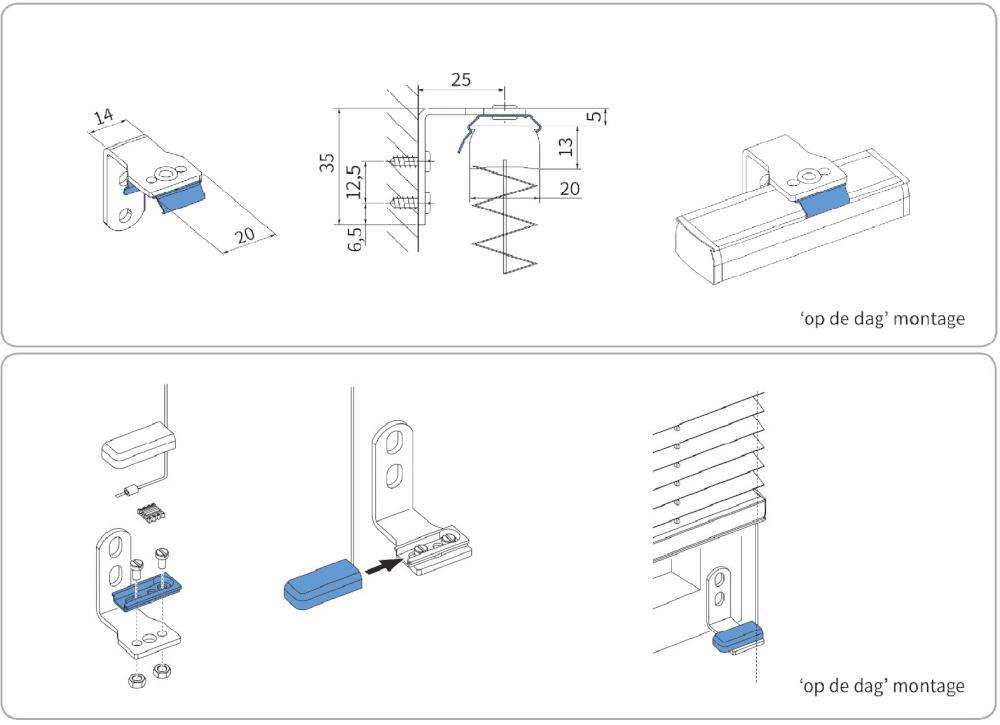 Wandsteun met clips (boven) + wandsteun (onder). Per set